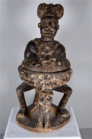 Bamileke Carved Seated Figure
