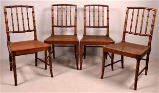 Four Kindel Faux Bamboo Side Chairs