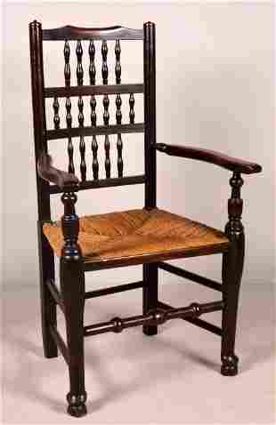 English Provincial Caned Oak Arm Chair