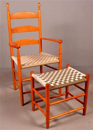 Shaker Style Chair and Ottoman