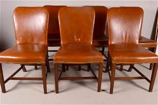 Six George III Style Leather Side Chairs