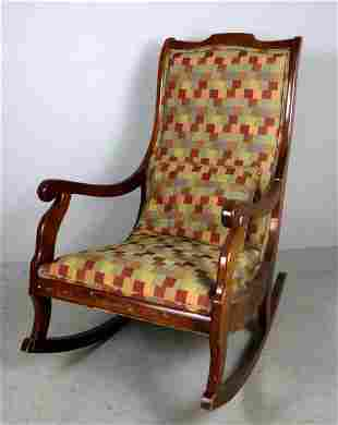 Rocking Chair with Patchwork Fabric With Pillow