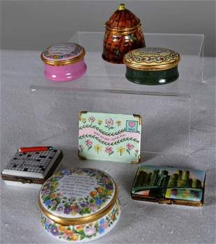 Seven Enamel English Pillboxes and One Keepsake
