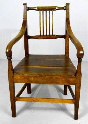 American Sheraton Style Oak Armchair