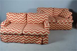 Pair of Modern Two Cushion Love Seats