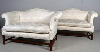 Pair of George III Style Camelback Love Seats