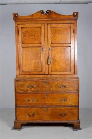 George III Style Oak Linen Press
