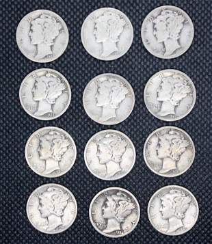 Twelve Mercury Dimes 1934-1945