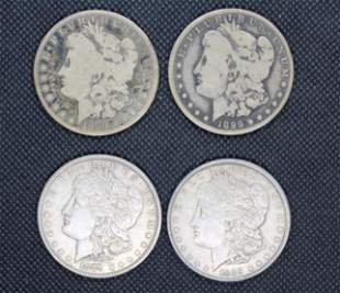 Four U.S. Morgan Silver Dollars