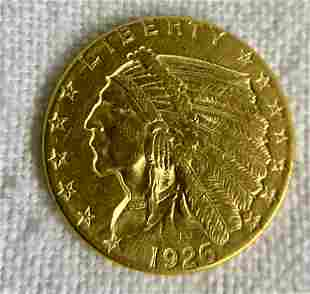 1926 Indian Head Quarter Eagle Gold Coin