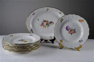 Six Royal Copenhagen Saxon Plates and Platter