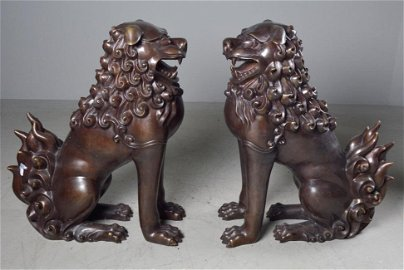 Pair of Foo Dogs Signed Monroe