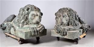 Pair of Recumbent Bronze Lions