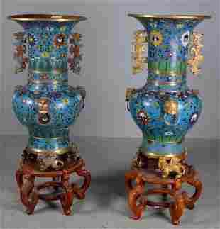 Pair of Cloisonne Dragon Feet Gu Vases