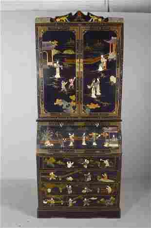 George III Style Chinoiserie Secretary Bookcase