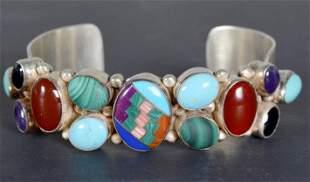 Navajo Style Multi-Stone Silver Cuff