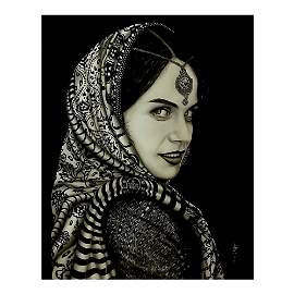 INDIAN BEAUTY GRAPHITE DRAWING BY STEFAN LUCIAN DINU