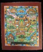 FINE PAINTED GILDED TIBETAN THANGKA  BUDDHA SHAKYAMOUNI