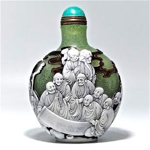 MASTERFUL PEKING GLASS SNUFF BOTTLE 18 ARHATS BUDDHISM