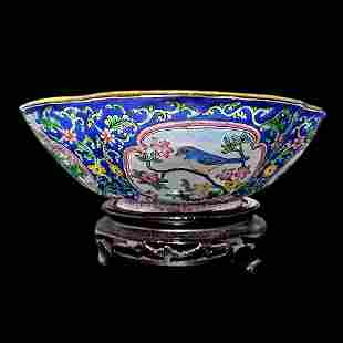 EXQUISITE ENAMEL BOWL BRONZE FAMILLLE ROSE QIANLONG