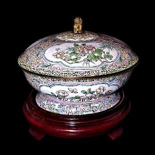 EXQUISITE  CHINESE CANTON ENAMEL BOWL AND COVER
