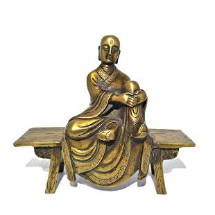 TIBETAN BRONZE STATUE BUDDHIST MONK SEATED ON BENCH