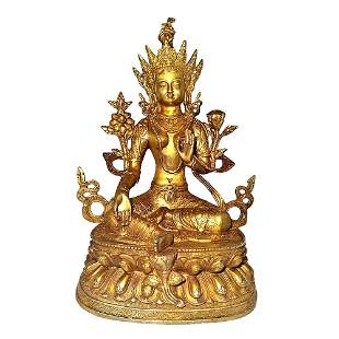 LARGE BUDDHIST TIBETAN GILT BRONZE STATUE  GREEN TARA