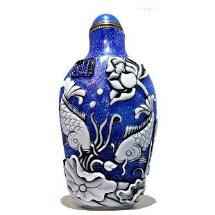 CHINESE PEKING GLASS SNUFF BOTTLE 3 COLORS QIANLONG
