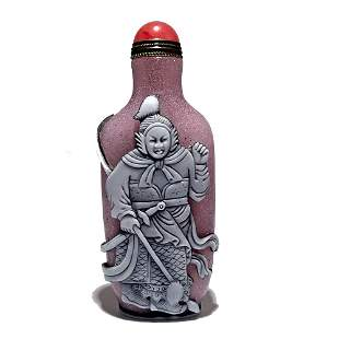 SO RARE  OVERLAY SNUFF BOTTLE FEMALE WARRIOR HUA MULAN