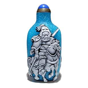 GREAT CHINESE GLASS SNUFF BOTTLE GENERAL ON HORSE