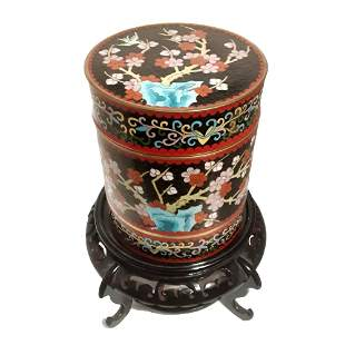 SUPERB CHINESE CLOISONNE LARGE BOX ON STAND 19TH C