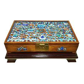 MAGNIFICENT RARE CHINESE ROSEWOOD BOX WITH ENAMEL QING