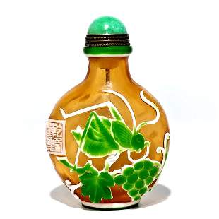 SUPERB PEKING GLASS SNUFF BOTTLE GOURD CRICKET SIGNED