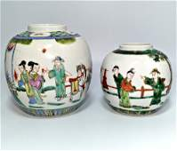TWO FAMILLE VERTE VASES PEOPLE STORY QING