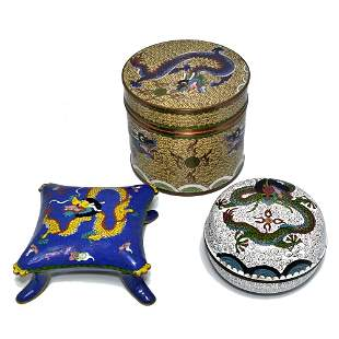 (LOT OF 3) CHINESE CLOISONNE ENAMEL BOX IMPERIAL DRAGON