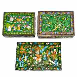BEAUTIFUL LOT THREE ANTIQUE CHINESE ENAMEL COPPER BOXES