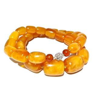 LARGE CHINESE BUTTERSCOTCH AMBER RESIN COMPOSITE BEADS