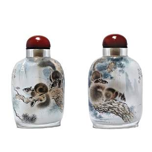 INSIDE PAINTED CHINESE SNUFF BOTTLE SQUIRRELS SIGNED
