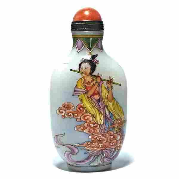 CHINESE ENAMEL SNUFF BOTTLE FEMALE IMMORTALS QIANLONG