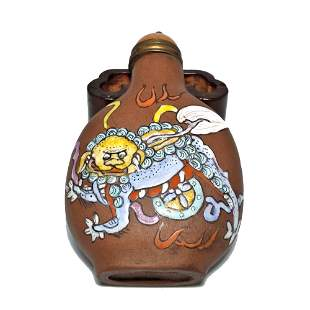 RARE YIXING CLAY ENAMEL SNUFF BOTTLE IMPERIAL DRAGONS