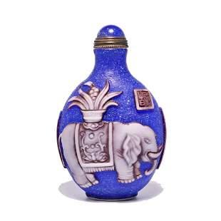 WONDERFUL SIGNED CHINESE GLASS SNUFF BOTTLE ELEPHANT