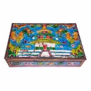 CHINESE ENAMEL BOX PALACE TWO DRAGONS