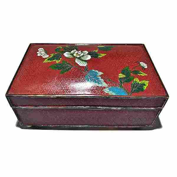 FINE LARGE CLOISONNE BOX ZITAN LINING GUANGZHOU DATED