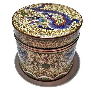 Chinese Bronze Cloisonné Imperial Dragon Box