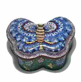 CHINESE CANTON ENAMEL BUTTERFLY BOX