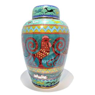 CHINESE CLOISONNE COVERED JAR ARCHAISTIC QING ROOSTER