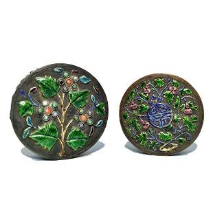 LOT OF TWO BEAUTIFUL ANTIQUE CHINESE ENAMEL BOXES