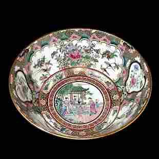 BEAUTIFUL LARGE CHINESE PORCELAIN GILDED BOWL 12 INCHES