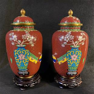 PAIR OF MIRRORED CHINESE CLOISONNE JARS WOODEN STANDS