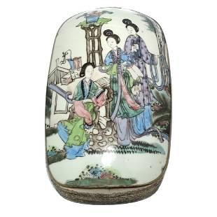 LARGE CHINESE PORCELAIN BOX LADIES FAMILLE ROSE